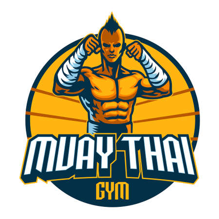 muay thai fighter mascot stance