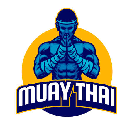 vector of muay thai fighter salute posing Иллюстрация