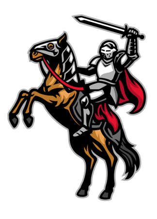vector of knight mascot ride the horse