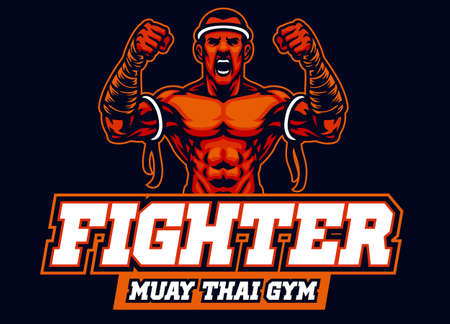 vector of mascot of muay thai fighter