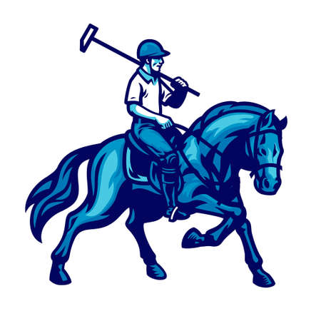vector of polo player riding the horse