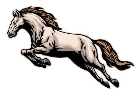 vector of hand drawn of running mustang horse