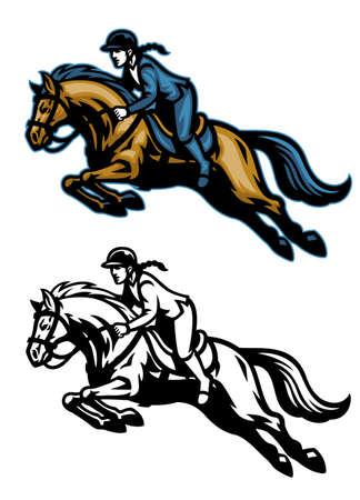 vector of running equestrian horse mascot 일러스트
