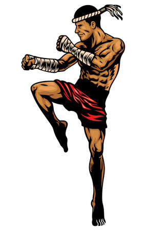 vector of muay thai fighter in hand drawing style 向量圖像