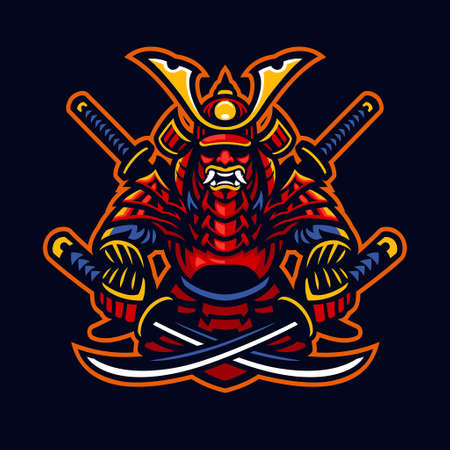 vector of samurai warrior e-sport mascot style