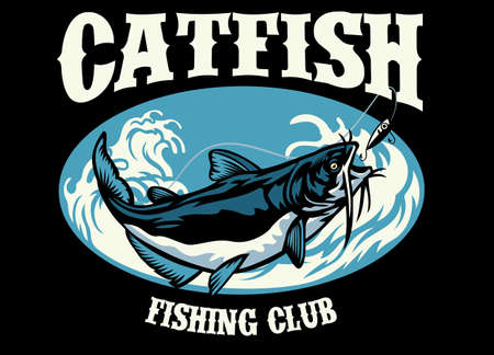shirt design of fishing catfish