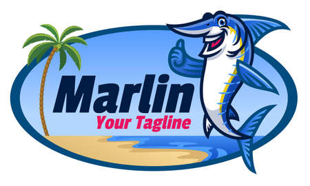 cartoon marlin fish mascot