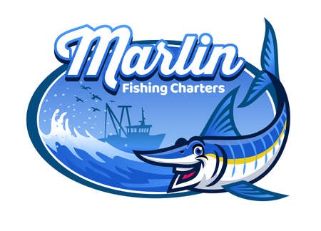 cartoon marlin fishing charters 向量圖像