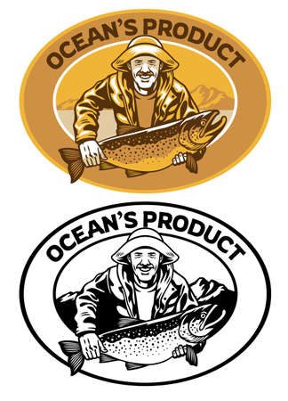 fisherman badge design with big trout fish