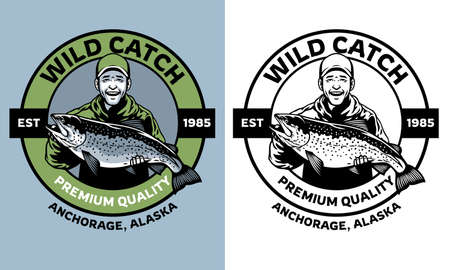 fisherman badge design hold the salmon fish