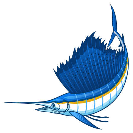 marlin sailfish with big sail fin 向量圖像