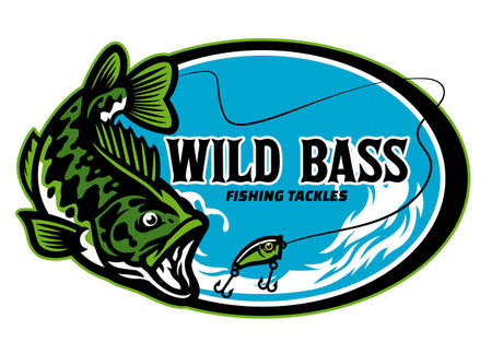 largemouth bass fishing tackle sign design 向量圖像