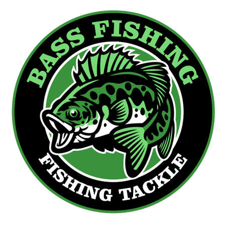 vector of bass fishing badge design