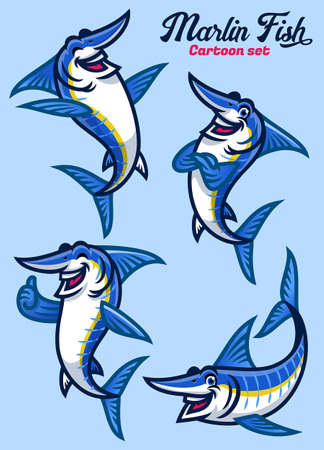 set of cartoon character of marlin fish 向量圖像