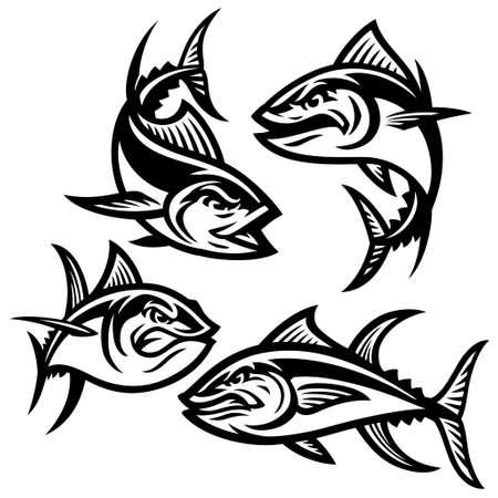 Set of tuna mascot cartoon character Vettoriali