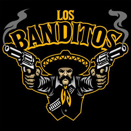 Mexican man aiming two guns