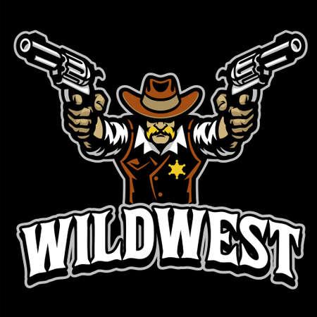 Cowboy mascot character with guns