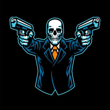 Skull wearing suit aiming the guns Vettoriali