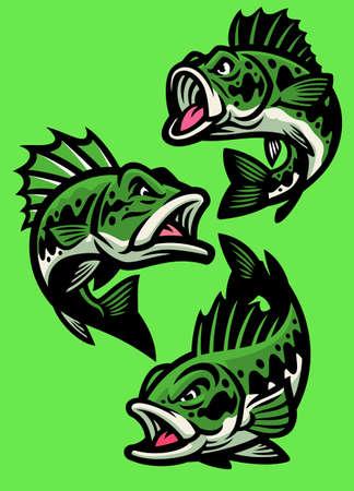 vector set of angry cartoon largemouth bass fish Vettoriali