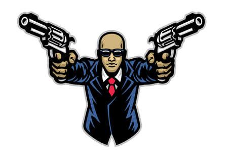 vector of suited gentlemen with pair of pistols Vettoriali