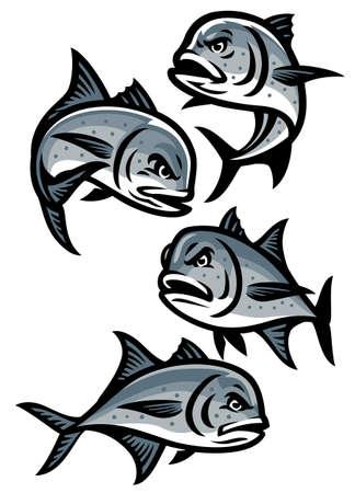 vector of set of giant trevally fish cartoon Vettoriali