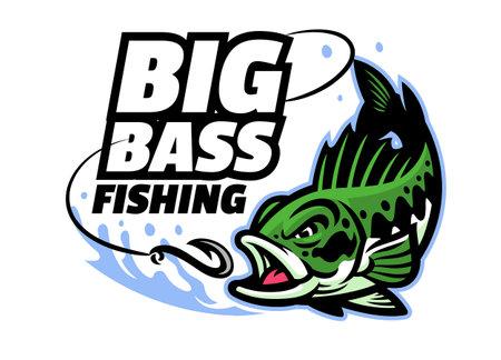 vector of big bass fishing mascot logo Vettoriali