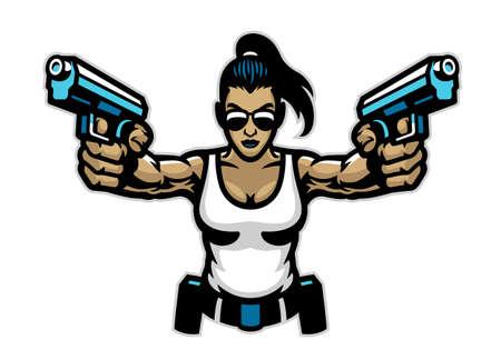 woman mascot aiming the guns Vettoriali