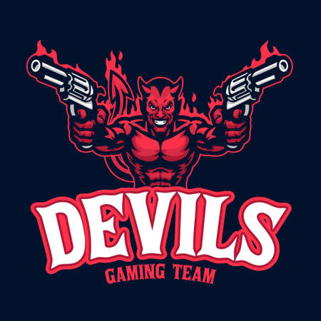 Devil mascot character with pair of pistols