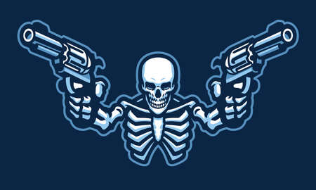 Skull character with two guns Vettoriali
