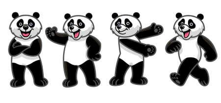 vector set of cartoon giant panda character