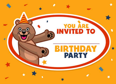 vector of birthday invitation with cute brown bear