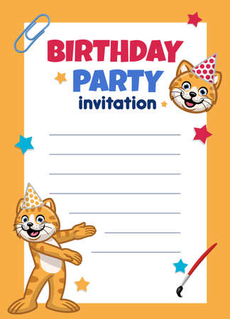 vector of birthday invitation design with cute cat