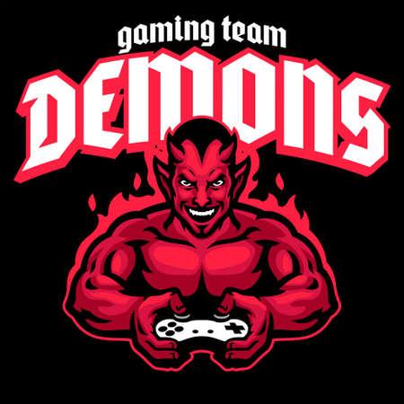 vector of devil mascot logo gaming 矢量图像