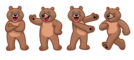 vector set of brown grizzly bear cartoon character