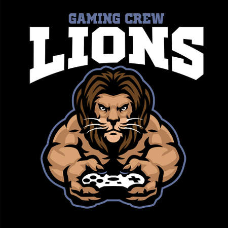 vector of mascot gaming logo of lion holding the joystick 矢量图像