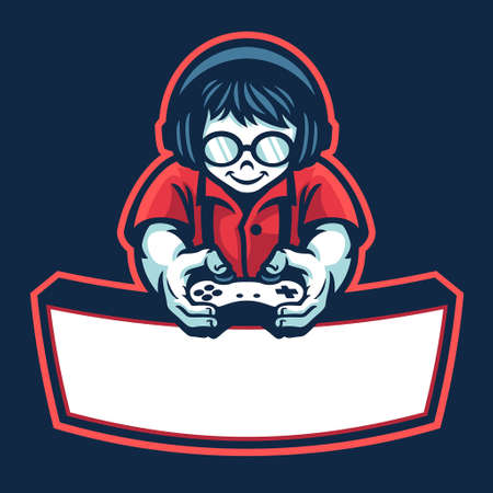 vector of nerd boy mascot esport logo