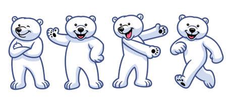 vector of set of cartoon polar bear character
