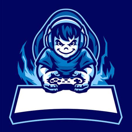 vector of cartoon boy gaming mascot logo