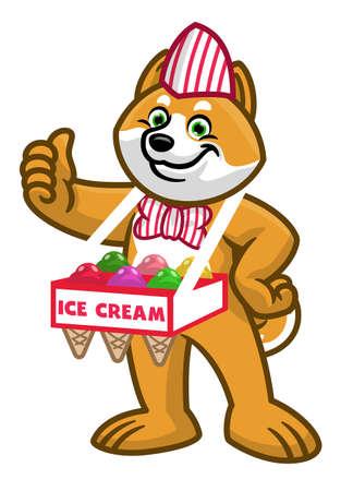 vector of cartoon shiba inu dog sold the ice cream