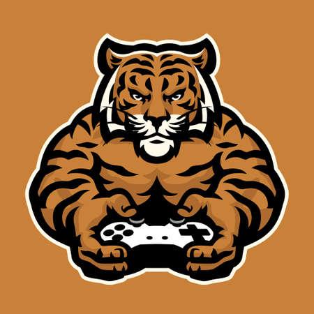 vector of tiger mascot gaming character logo