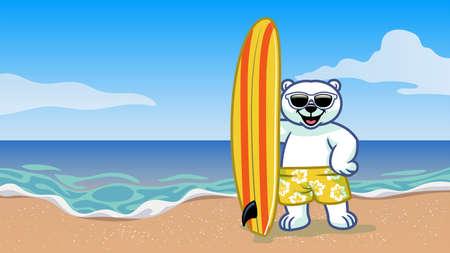 vector of surfer polar bear vacation on the beach