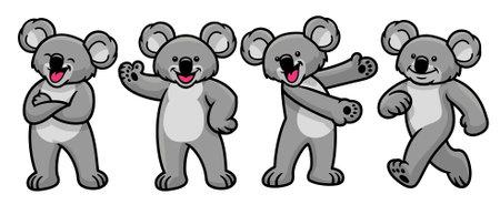 vector set of cartoon koala character