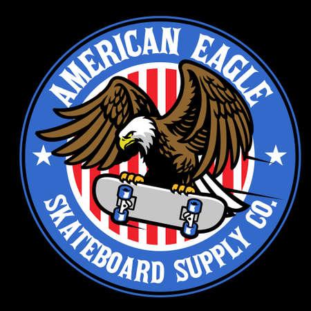 vector of american eagle skateboard sport logo
