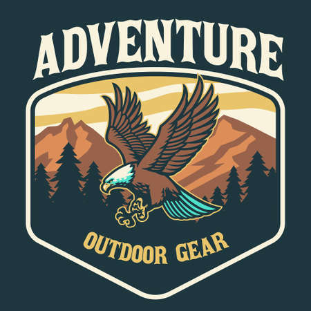 vector of Outdoor logo style with bald eagle