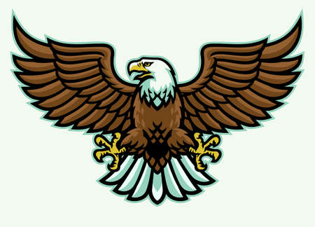 vector of angry eagle mascot spreading the wings 矢量图像