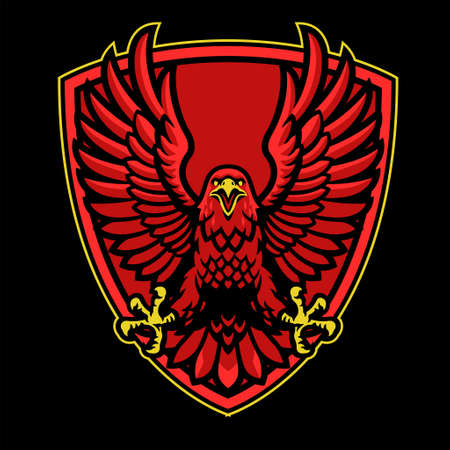 vector of red eagle mascot logo on the shield