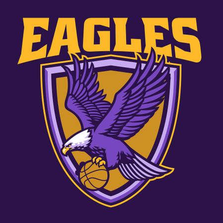 vector of eagle basketball team mascot