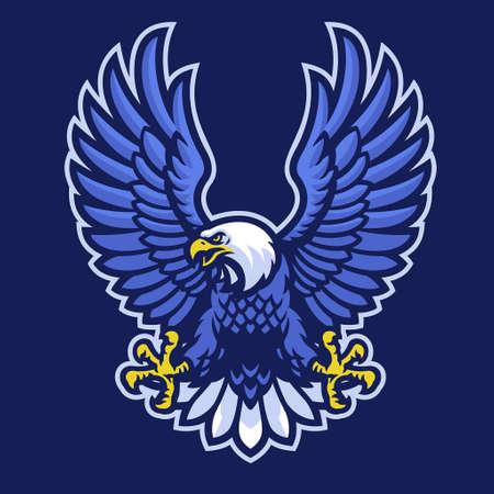 vector of mascot logo of blue bald eagle 矢量图像