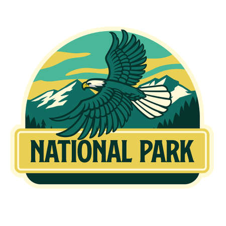 vector of flying eagle mascot logo in the nature