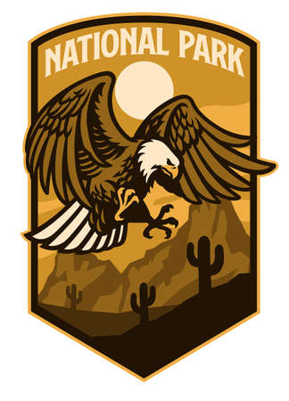 vector of bald eagle of national park style logo